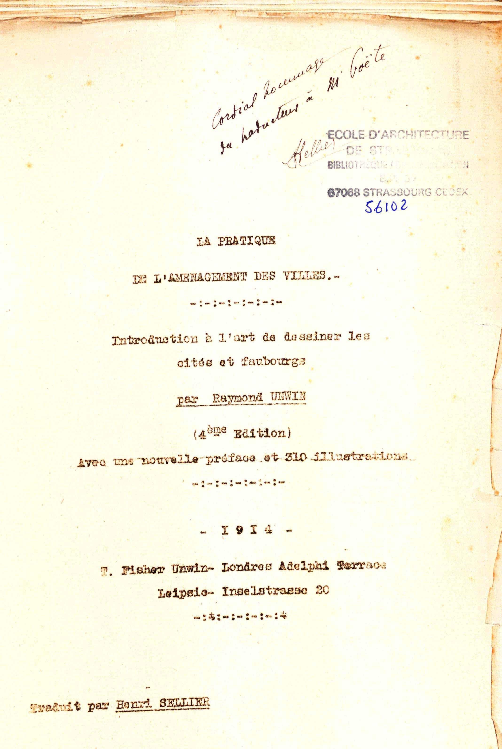 Découverte exceptionnelle d'un manuscrit de Henri Sellier à l'ENSAS